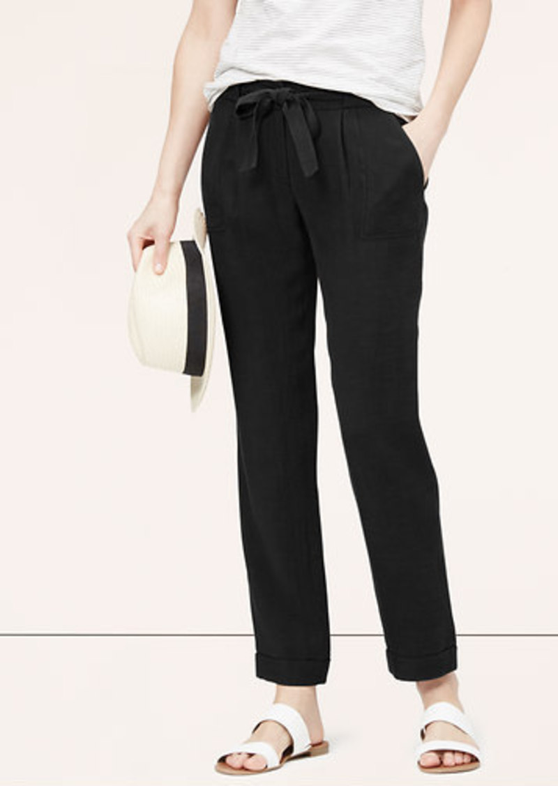 Loft Petite Fluid Basketweave Tie Waist Pants Casual