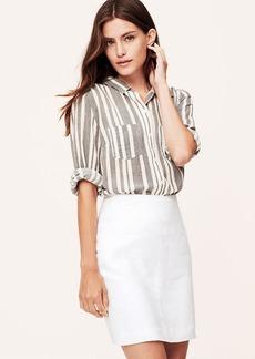 Petite Herringbone Linen Shift Skirt