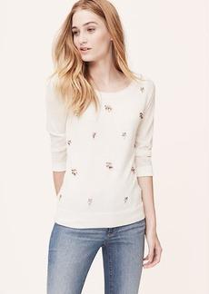 Petite Jeweled 3/4 Sleeve Sweater