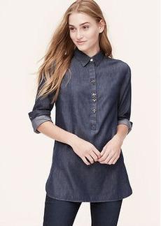 Petite Jeweled Chambray Tunic Softened Shirt