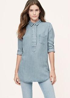 Petite Lapeled Light Chambray Softened Shirt