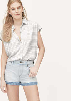 Petite Meadow Stripe Shirred Short Sleeve Shirt