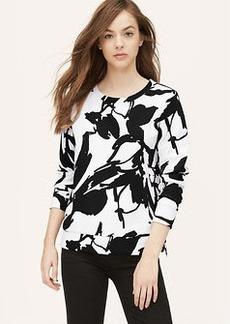 Petite Painted Floral Jacquard Sweatshirt