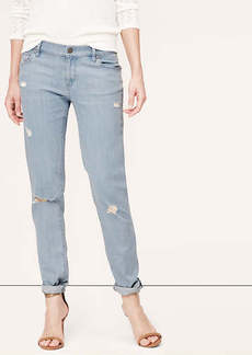 Petite Relaxed Skinny Jeans in Destructed Abyss Blue Wash