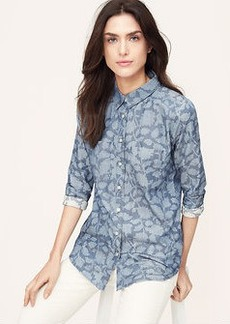 Petite Shadow Floral Softened Shirt