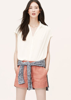 Petite Shirred Short Sleeve Shirt