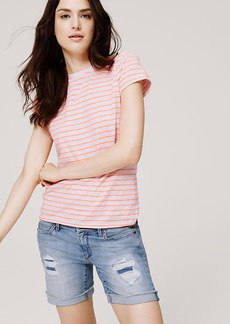 Petite Striped Crew Neck Tee