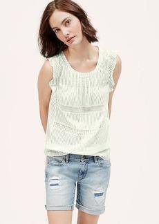 Petite Striped Crochet Lace Top