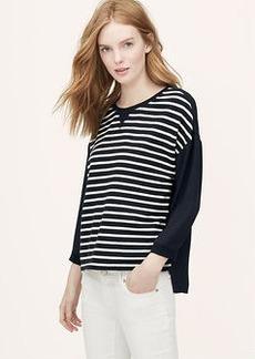 Petite Striped Mixed Media Sweatshirt
