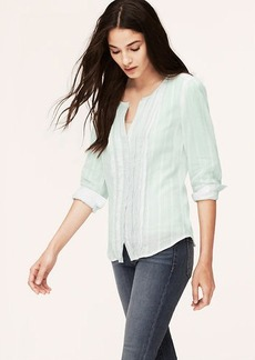Petite Striped Pintucked Blouse