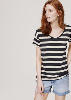 Petite Striped Textural Pocket Tee