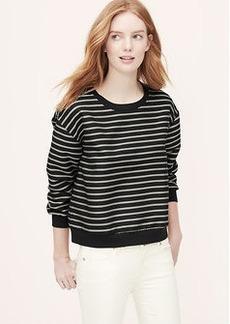 Petite Striped Woven Sweatshirt