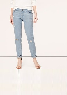 Relaxed Skinny Jeans in Destructed Abyss Blue Wash