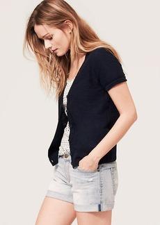 Slubbed Cotton Short Sleeve Cardigan