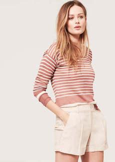Stripe Textured Scoop Neck Sweater