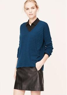 Striped Drapey V-Neck Sweater