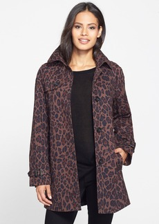 London Fog Animal Print Single Breasted A-Line Coat (Online Only)