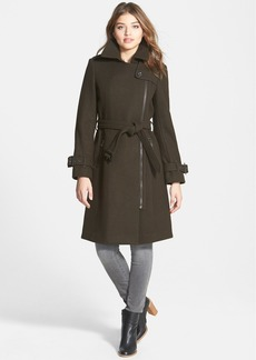 London Fog Asymmetrical Wool Blend Trench Coat (Online Only)
