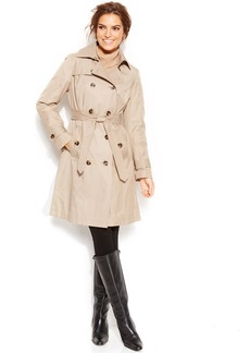 London Fog Petite Hooded Belted Trench Coat