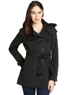 London Fog black cotton blend double breasted belted trench coat
