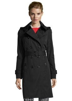 London Fog black cotton blend double breasted hooded trenchcoat