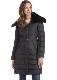 London Fog black quilted faux fur trimmed belted down three-quarter coat