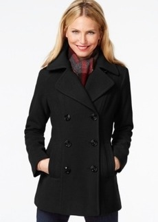 London Fog Double-Breasted Peacoat with Plaid Scarf