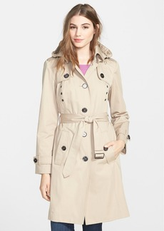 London Fog Grommet Detail Long Hooded Trench Coat