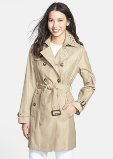 London Fog Grommet Trim Double-Breasted Trench Coat