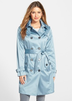 London Fog Heritage Satin Double Breasted Trench Coat