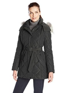 London Fog Heritage Women's Diamond Quilted Down Coat with Fur Hood