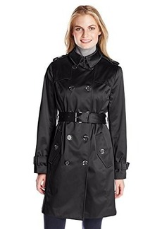 London Fog Heritage Women's Double Breasted Satin Trench Coat