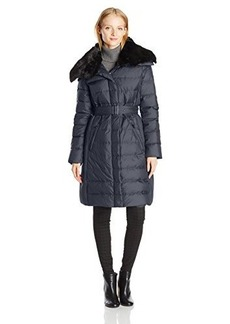 London Fog Heritage Women's Long Down Coat with Fur Collar