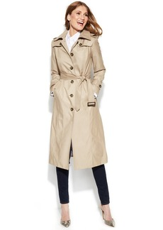 London Fog Hooded Belted Maxi Trench Coat