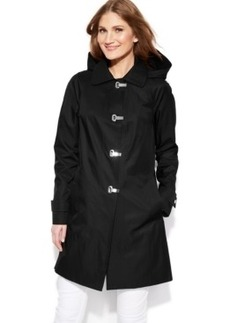London Fog Hooded Clip-Front Jacket