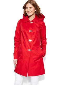 London Fog Hooded Clip-Front Jacket