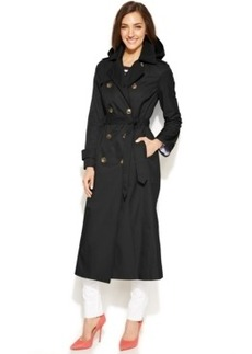 London Fog Hooded Double-Breasted Maxi Trench Coat