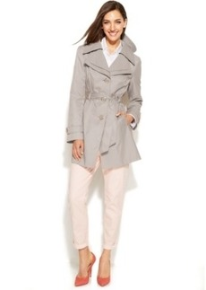 London Fog Hooded Layered-Lapel Trench Coat