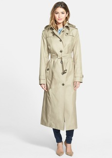 London Fog Hooded Long Single Breasted Trench Coat (Regular & Petite)