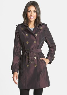 London Fog Iridescent Double Breasted Trench Coat (Online Only)