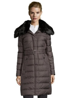 London Fog iron quilted faux fur trimmed belted down three-quarter coat
