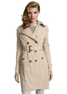 London Fog khaki cotton blend double breasted hooded trenchcoat