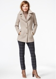 London Fog Petite Layered-Collar Peacoat