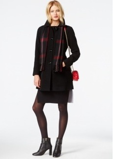London Fog Petite Peacoat with Plaid Scarf