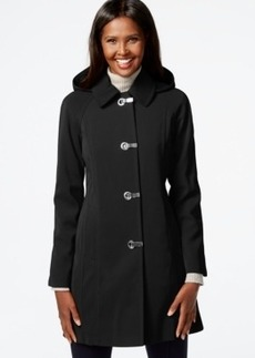 London Fog Petite Hooded Clip-Front Jacket