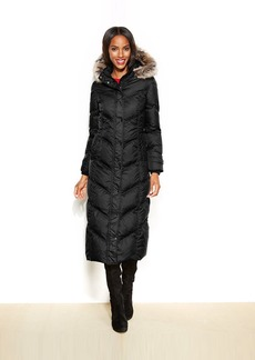 London Fog Petite Hooded Faux-Fur-Trim Down Maxi Puffer Coat