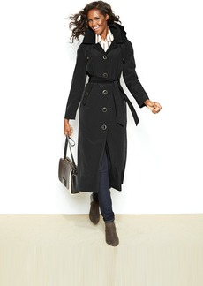 London Fog Petite Hooded Single-Breasted Maxi Trench Coat