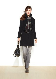London Fog Petite Single-Breasted Wool-Blend Coat with Scarf