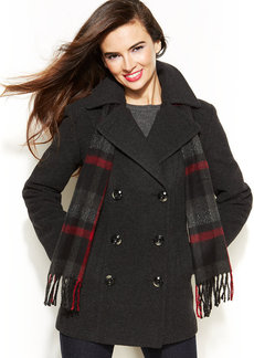 London Fog Petite Wool-Blend Pea Coat & Matching Scarf