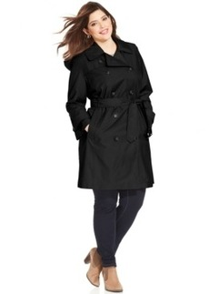 London Fog Plus Size Belted Double-Breasted Trench Coat